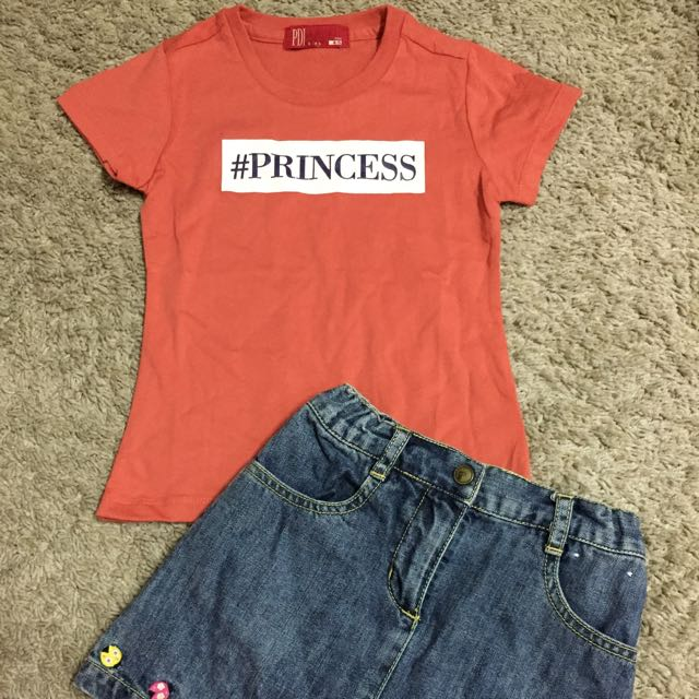 new pdi shirt + preloved gymboree jeans skirt