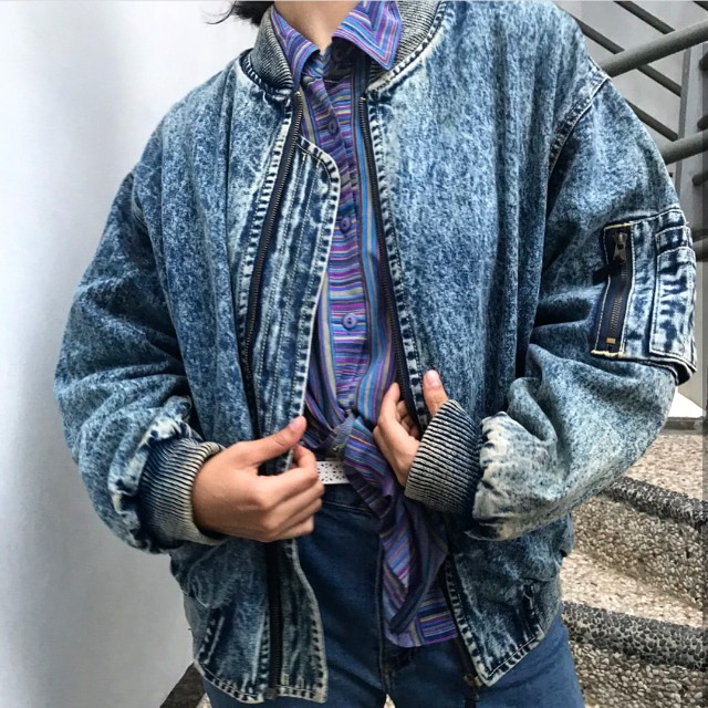 Oversized wash denim jacket vintage oldschool