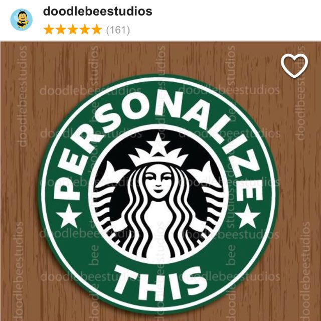 picture regarding Starbucks Logo Printable known as Personalized Printable Starbucks Label, Style Craft, Artwork