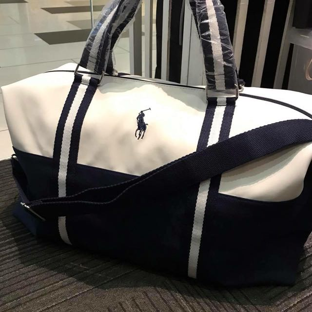 RALPH LAUREN WHITE (PVC)   BLUE DUFFLE BAG WITH SLING, Luxury, Bags ... 4fed29566f