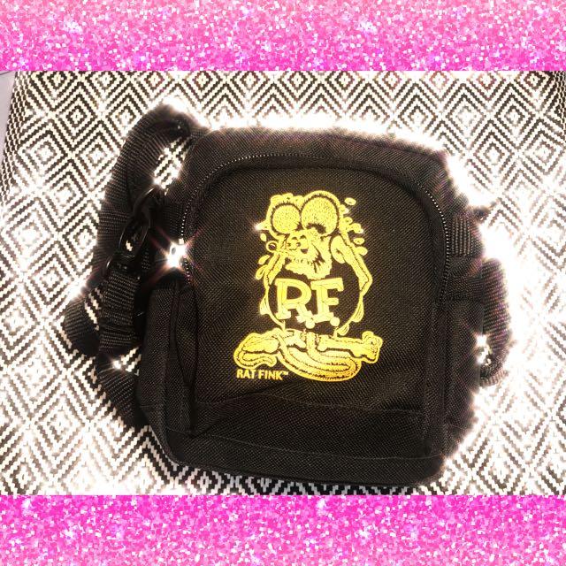 Rat fink🐭黑色🏁芬克 側背小包 肩包 腰包兩用