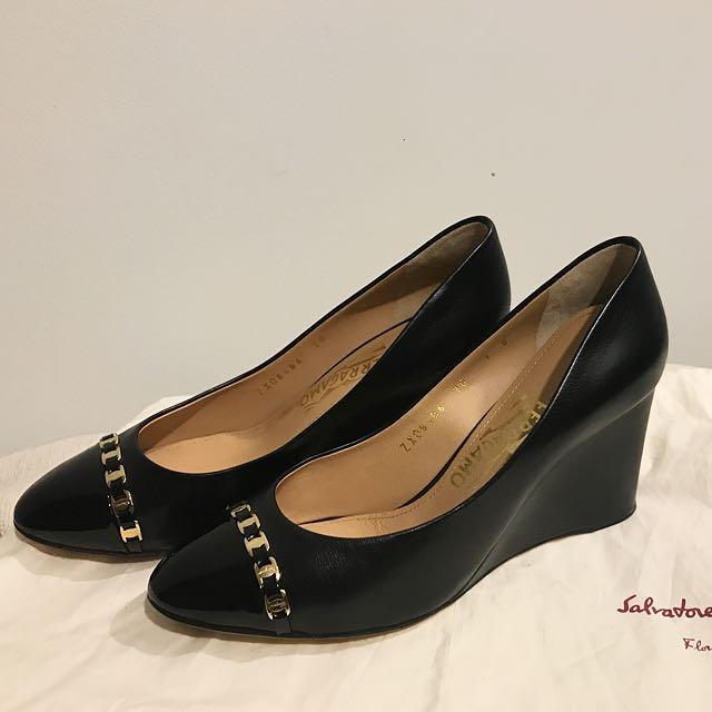 f481e8cf8b Salvatore Ferragamo Black Nana Leather   Patent Cap-toe Wedges ...