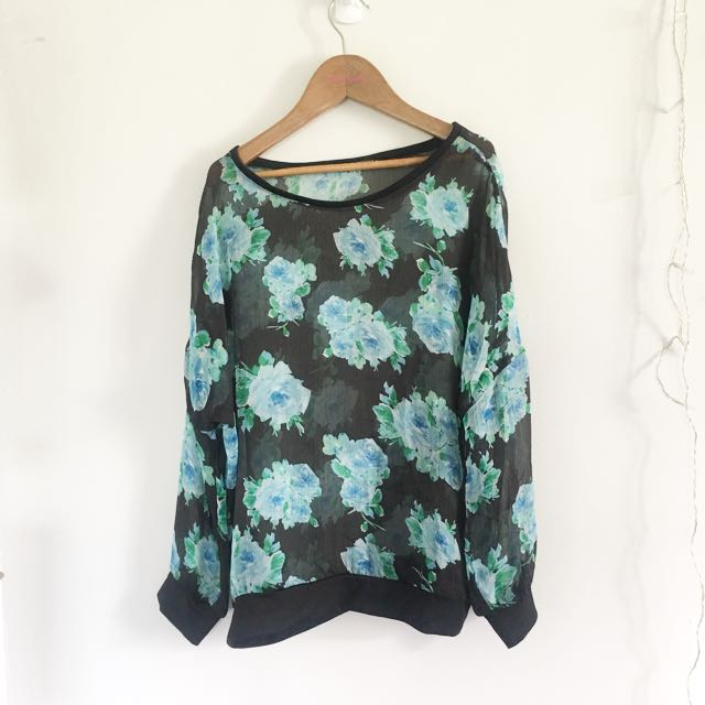 Sheer Korean Floral Sweater