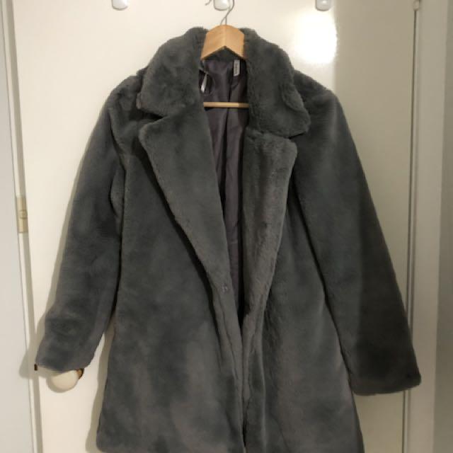 Showpo Grey Fur Coat