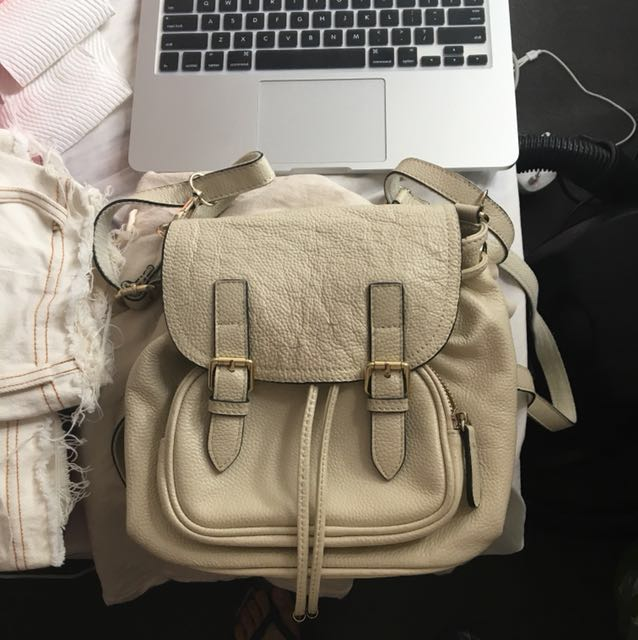 Small milk white leather backpack