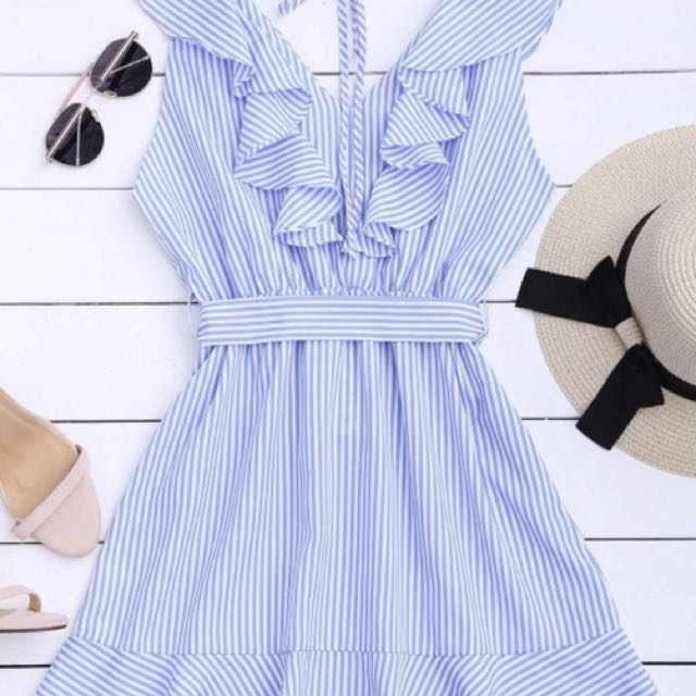 Stripe blue and white dress (S)