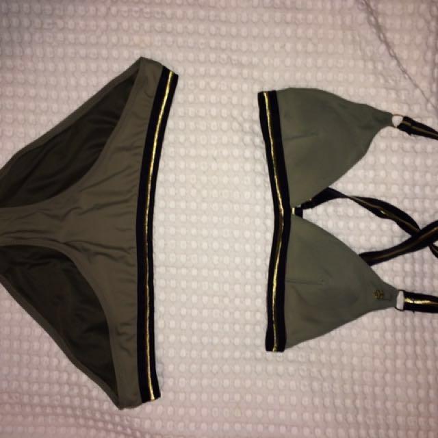 STUSSY khaki, gold and black bikini