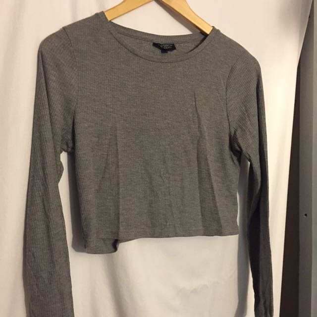 Top shop Long sleeve grey cropped top