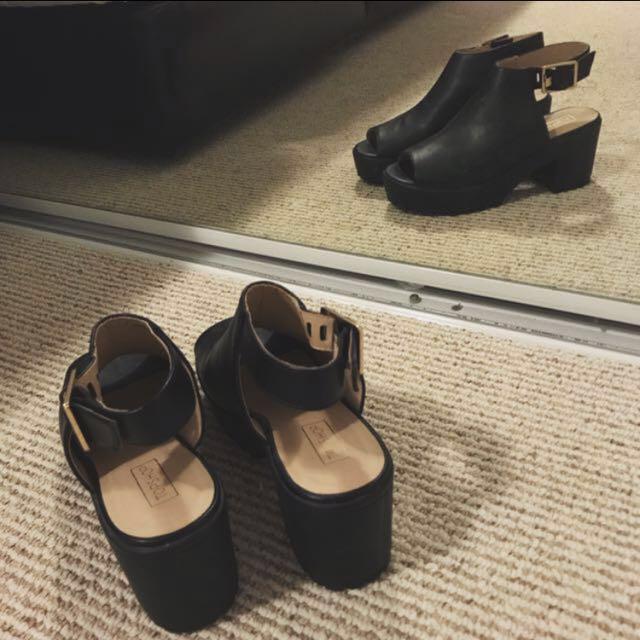 Topshop Black Leather Chunky Heels