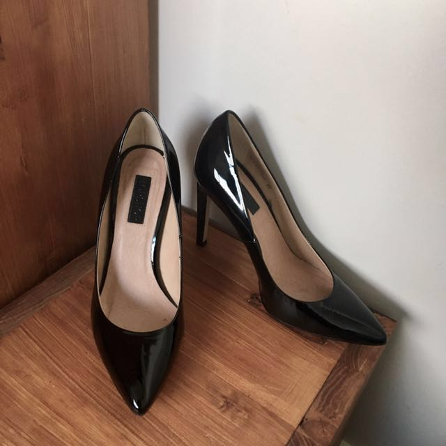 Topshop Black Patent Leather Heels Pumps Pointed