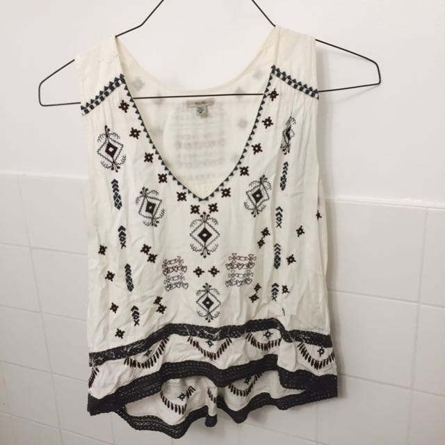 Urban Outfitters Ecote Embroidered Top