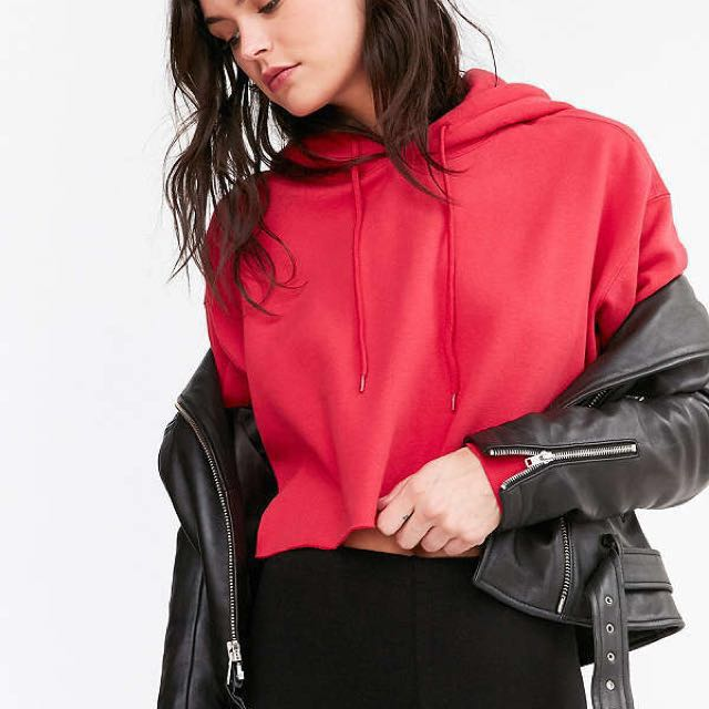 Urban Outfitters Red Cropped Hoodie