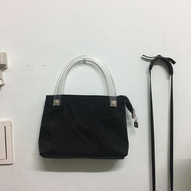 Vintage 古著透明壓克力提拔黑色極簡小包包 60s 手拿包