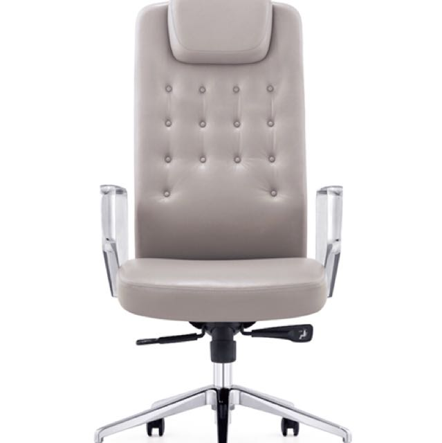 Wallis Executive Leather Swivel Office Chair (Grey) -brand new