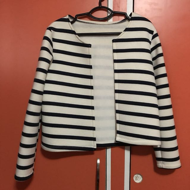 White & Blue Thick Neoprene Cardigan