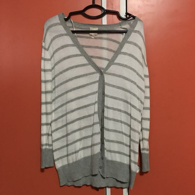 White & Gray Striped Cardigan