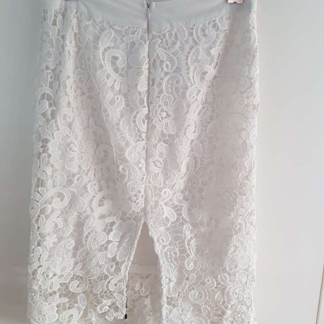 White Laced Midi Skirt