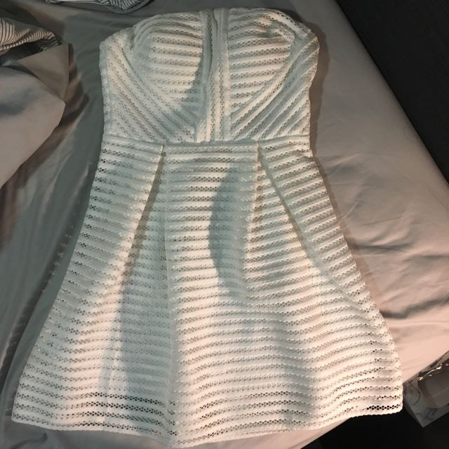 White Mesh Detail Skater Dress