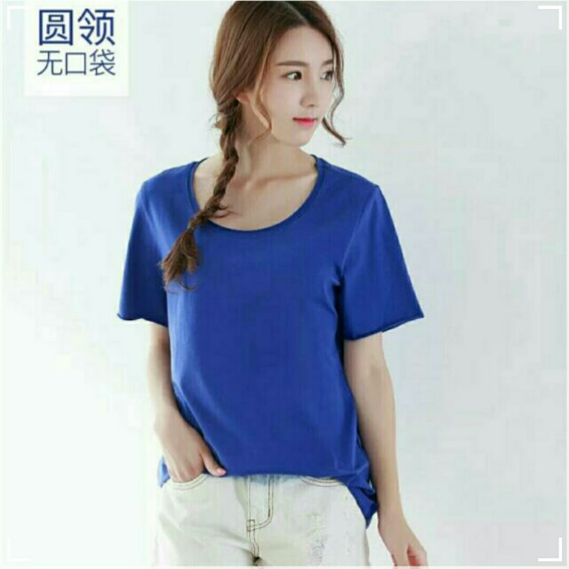 【近全新】淘寶YESVVT大尺碼純棉T恤 4XL 寶藍