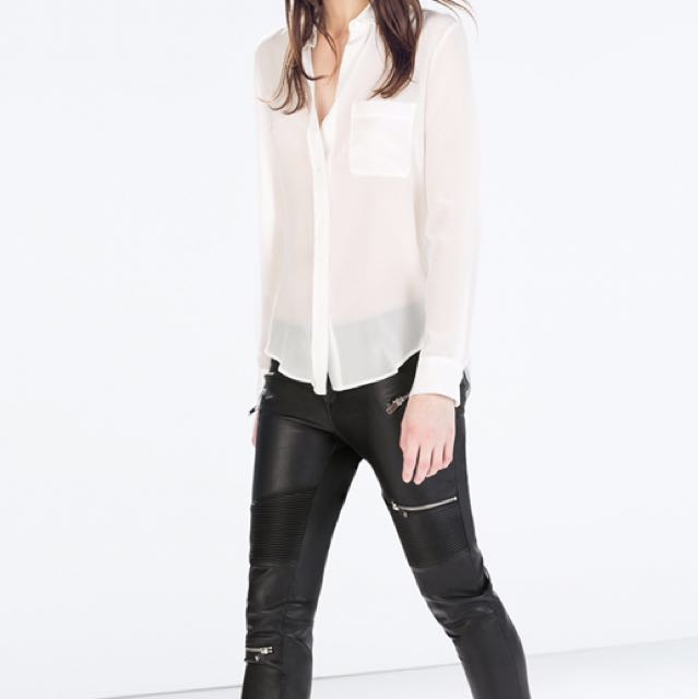 Zara Faux Leather Moto Pants