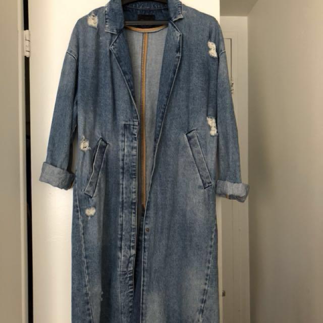 Zara long denim distressed coat