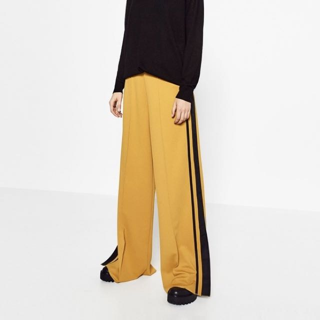 Zara Wide Leg Yellow Pants with Black Stripe