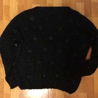 黑色針織玫瑰造型