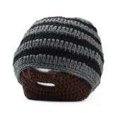 Men's Winter Knit Crochet Brown Coffee Beard Beanie Moustache Face Mask Ski Snow Hat Black & Grey Stripes (FREE LOCAL POST)