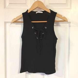 Zara Black Tank Tie-up Top (Small)