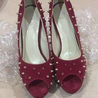 Red Spike High Heel