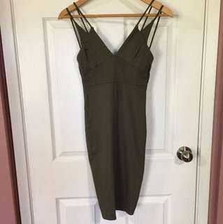 Sirens Navy Green Bodycon Dress (Small)