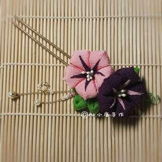 🚚 【mu小鹿手作】浴衣/和服 日本縐布和風布花髮飾 (粉紫/朝顏)