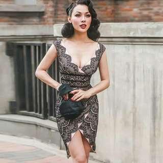 絕美質感細緻蕾絲開叉洋裝禮服S號