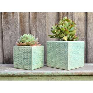 Aqua Ceramic 'Tile' Square Planter