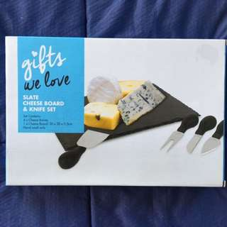 Slate cheese board & knife set