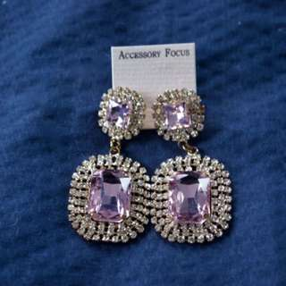 Pink diamond look earrings