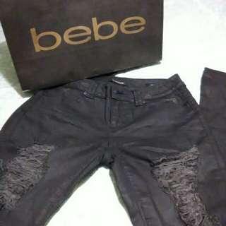 Bebe black distressed jeans