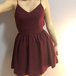 Maroon backless flare dress