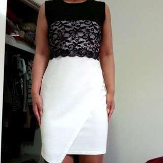 Lace split hem dress