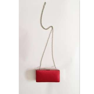 Bijoux Terner Red Evening Hard Box Clutch with Chain