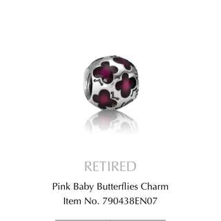 Silver And Pink Pandora Butterflys Charm