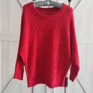 紅色針織毛衣 (免運)