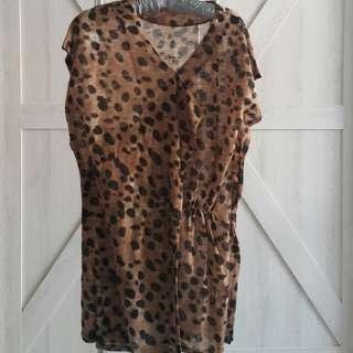 秋天薄款針織豹紋洋裝 (免運)