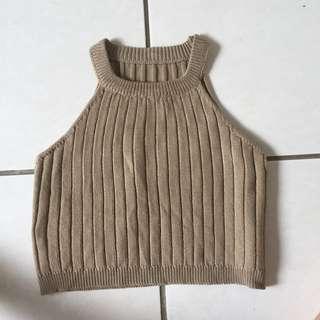 Brown Knit Crop Top