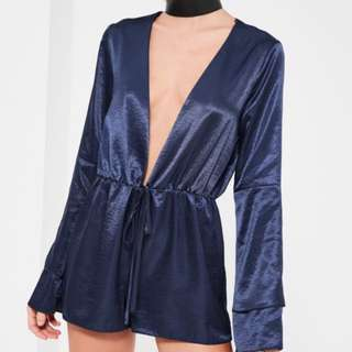 Missguided Navy Plunge Satin Playsuit