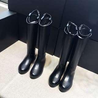 超級好看有實穿照 真皮 長靴 中筒靴 軍靴 馬靴 粗跟 皮靴 顯瘦 實拍
