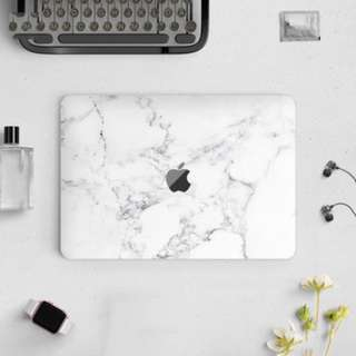 Abstract Clean White Marble Macbook Vinyl Decal