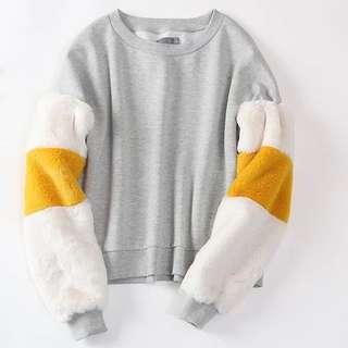 OshareGirl 10 歐美柔軟舒適撞色毛毛袖圓領上衣