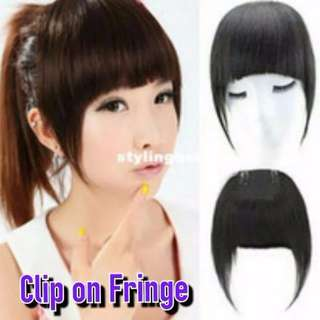 Thick Front Bangs Clip On Hair Extensions Fringe