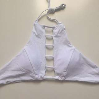 High neck halter bikini top white